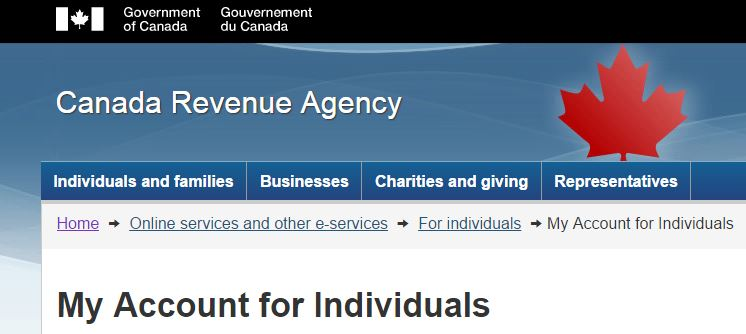 My Account, the Canada Revenue Agency's secure portal